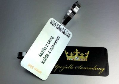 Artistic jewellery tags with convex diamond and barcode