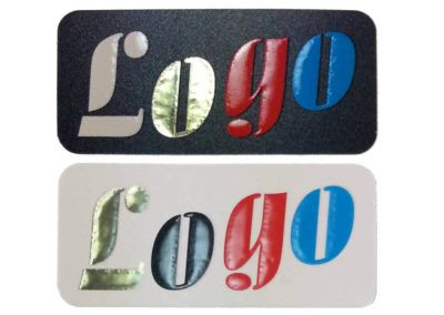 Elegant stickers with your logo, golden effects, convex letters