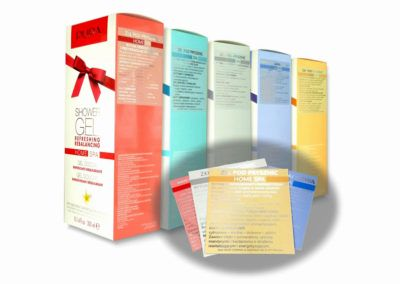 Colorful adhesive labels with metallic effects, matched to the design of your product