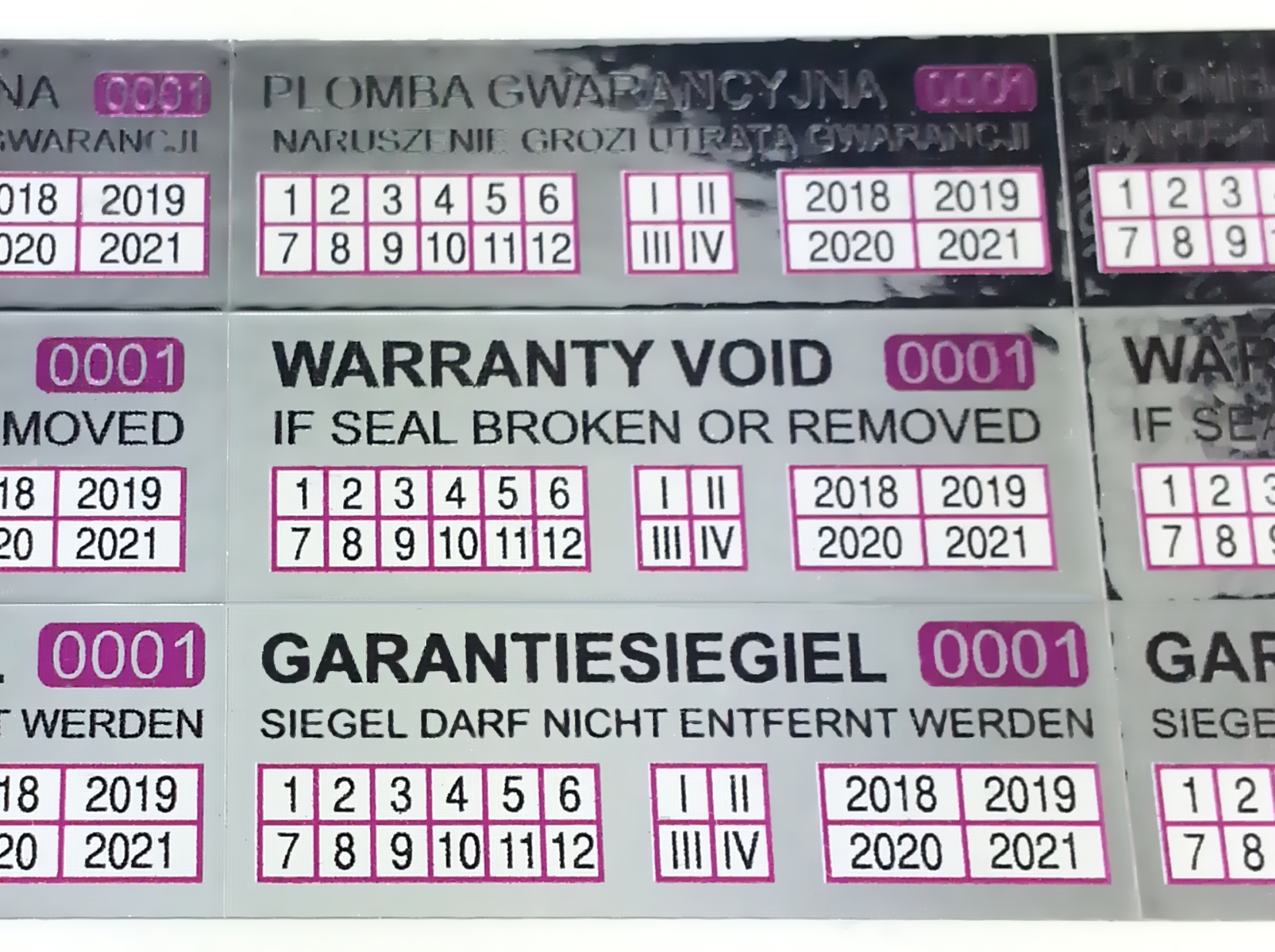 2018-2020 Aufkleber Sticker Hologramm Garantiesiegel Etiketten Kontrollsiegel